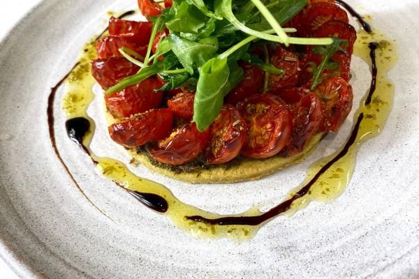 Isle of White Cherry Tomato Tart with pesto